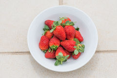 Strawberries in a bowl top view Royalty Free Stock Photography