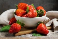 Strawberries Bowl Vintage Rustic Atmosphere stock images