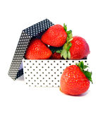 Strawberries in box. Fresh strawberries in a black and white box on a white background Stock Photos