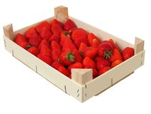 Strawberries in a box stock photos