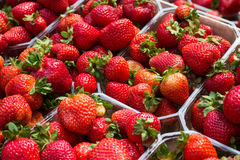 Strawberries in boxes - strawberry fruits in box Royalty Free Stock Images