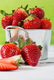 Strawberries in a bucket Royalty Free Stock Photography