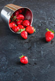 Strawberries in a bucket of ice on a dark background. Ripe red strawberries in a metal bucket of ice on a small concrete background Royalty Free Stock Images