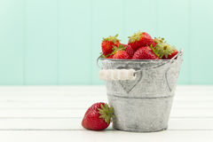 Strawberries on a bucket Stock Photography