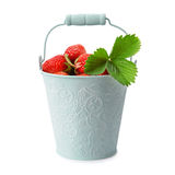 Strawberries in bucket. On white background Stock Photo