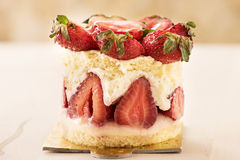 Strawberries cake with blur background close-up royalty free stock image