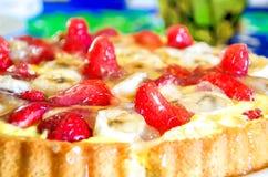 Strawberries cake closeup jelly homemade recipe Stock Photography