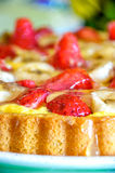 Strawberries cake closeup jelly vertical jelly homemade recipe Stock Images