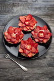 Strawberries cakes franch tartellette with red fruits and pastry cream Stock Photos