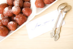 Strawberries with card for you Stock Photos