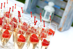 Strawberries and cava cup Royalty Free Stock Photo