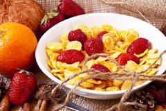 Strawberries and cereals breakfast Royalty Free Stock Photo