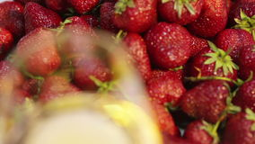 Strawberries and champagne. Macro Stock Image