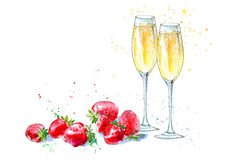 Strawberries and champagne. Picture of a alcoholic drink and berries. Watercolor hand drawn illustration Royalty Free Stock Photos