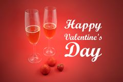 Happy Valentine Day stock images. Strawberries with champagne stock images. Glass of champagne with strawberries stock photography