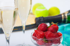 Strawberries and champagne during Wimbledon Stock Photography