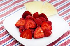 Strawberries and cheese Royalty Free Stock Images