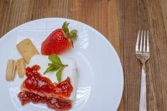 Strawberries and cheese. Strawberry jam Stock Image