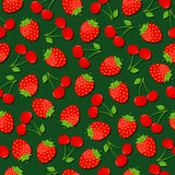 Strawberries and cherries background. Seamless pattern with sweet strawberries and cherries on dark green background Royalty Free Stock Image