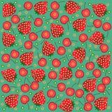 Strawberries cherries background. Vector graphic illustration design art Royalty Free Stock Photo