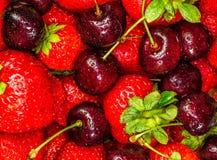 Strawberries and Cherries. Closeup of Strawberries and Cherries Royalty Free Stock Photo