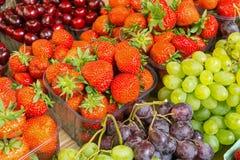 Strawberries, cherries and grapes Stock Photo