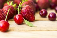 Strawberries and Cherries Royalty Free Stock Photos