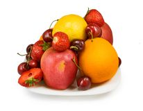 Strawberries, cherry, apple, orange and lemon Stock Image