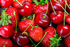 Strawberries and cherry Royalty Free Stock Photos