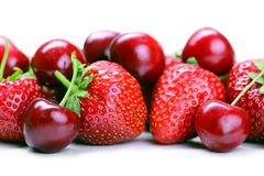 Strawberries and cherry Royalty Free Stock Image