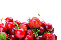 Strawberries and cherry Royalty Free Stock Images
