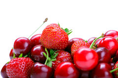 Strawberries and cherry Stock Image