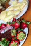 Strawberries and Chocolate stock images