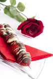 Strawberries with chocolate Royalty Free Stock Photos