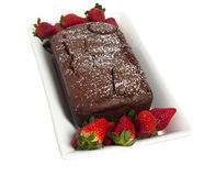Strawberries and chocolate cake Royalty Free Stock Photos