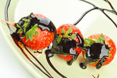 Strawberries and chocolate, closeup royalty free stock images