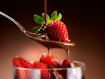 Strawberries and chocolate Stock Image