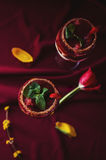 Strawberries, chocolate and mascarpone trifle- top view. Strawberries, chocolate and mascarpone trifle in wine glasses- closeup royalty free stock images