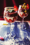 Strawberries, chocolate and mascarpone trifle Stock Image