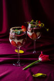 Strawberries, chocolate and mascarpone trifle. In wine glasses- closeup royalty free stock photography