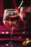 Strawberries, chocolate and mascarpone trifle Royalty Free Stock Photos