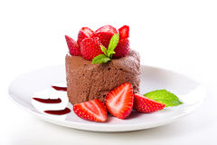 Strawberries With Chocolate Mousse Stock Photos