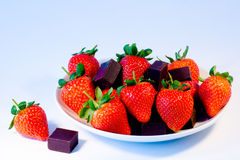 Strawberries with chocolate Stock Photo