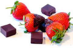 Strawberries with chocolate Stock Image