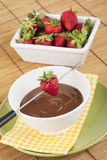 Strawberries and chocolate syrup Royalty Free Stock Photo