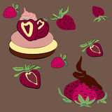 Strawberries. With chocolate tart with vector illustration