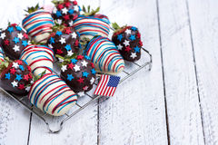 Strawberries in chocolate with usa decoration Stock Photo