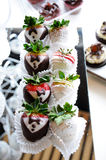 Strawberries with chocolate for a wedding royalty free stock photography