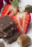 Strawberries with chocolated Royalty Free Stock Image