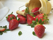 Strawberries  in  clay bucket. On white background Royalty Free Stock Photo